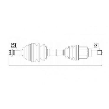 ARBRE DE TRANSMISSION CARDAN ARRIERE GAUCHE JEEP COMPASS/PATRIOT 2.0/2.4