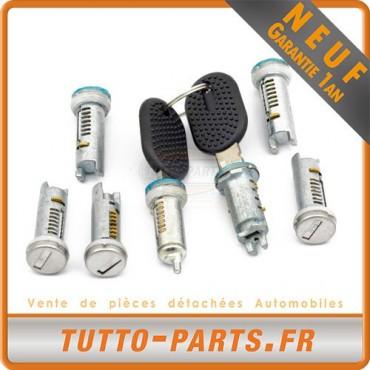 7 Barillets Serrure de porte + 2 clés pour FIAT Ducato - 1994 à 2002
